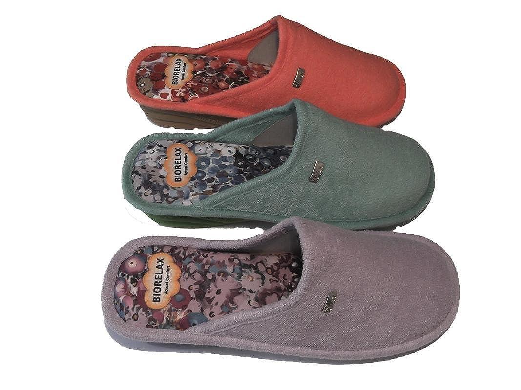 be0d11ec38d8d Biorelax Pantoufles Chaussures Femme Printemps-Eté 2018 Mod. Rizo Talon 3  cm Couleurs Aguamar-Lilas - Corail Tailles DE 35 à 41  Amazon.fr  Chaussures  et ...