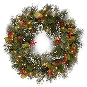 "National Tree Company 24"" Pre-Lit Wintry Pine Artificial Christmas Wreath with Cones, Berries and Snow - Clear Lights 94"