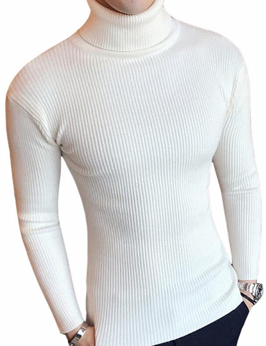 HTOOHTOOH Mens Rib-Knit High Neck Pullover Slim Fit Pure Stylish Sweater