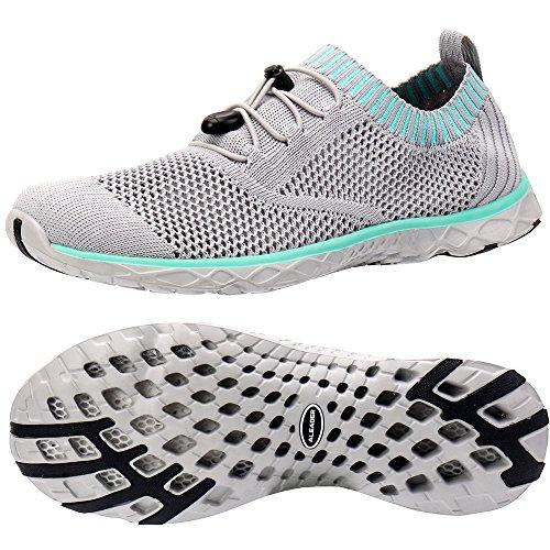 ALEADER Women's Adventure Aquatic Water Shoes Gray/Aqua Sky 7.5 D(M) US ()