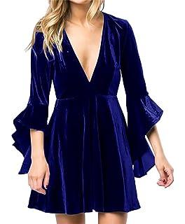 4b131c2a856b Simplee Apparel Women s Sexy Deep V Neck Ruffles Velvet Dress Party ...