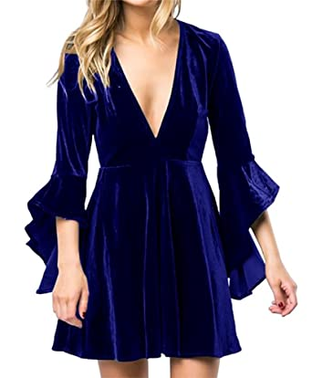 891d722ef9 Inorin Womens Velvet Skater Dress Deep V Neck Bell Sleeve Sexy Swing Dress  Party Gown