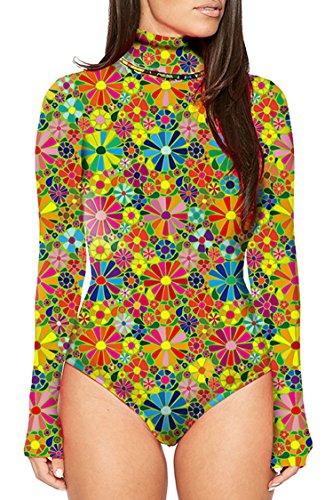 (KAKALOT Women's Sexy Turtleneck Printed Long Sleeve Bodycon Club Bodysuit Leotard L)