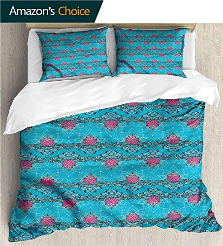 Style 3D Digital Print Bedding Sets,Box Stitched,Soft,Breathable,Hypoallergenic,Fade Resistant Print Duvet Cover Sets Soft Microfiber 3Pcs Quilt Cover-Lotus Culture Pattern (87