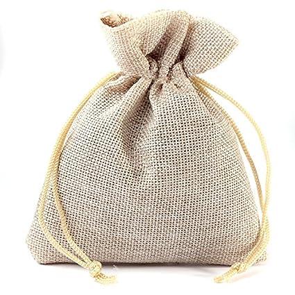 10 piezas bolsas de yute 8 x 10 cm - natural claro: Amazon ...
