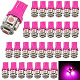 30-Pack 194 T10 168 2825 Pink LED Light 12V,AMAZENAR 5 SMD 5050 Chipset Car Interior Replacement W5W 175 158 Bulb For Map Dome Courtesy Trunk License Plate Dashboard Side Marker Parking Light