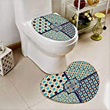 PRUNUS 2 Piece Toilet Cover set Islamic Ornate s Lines Heritage Culture Print Blue Orange White in Bathroom Accessories