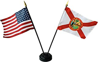 product image for 4x6 E-Gloss Florida Stick Flag w/U.S. Stick Flag & 2 Flag Plastic Table Base - Qty 24