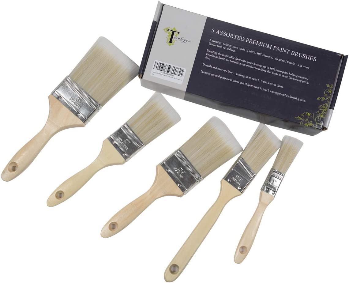 TAVOLOZZA 5 PCS Paint and Chip Paint Brushes with Wooden Handle for Paint, Stains, Varnishes, Glues, Acrylics and Gesso
