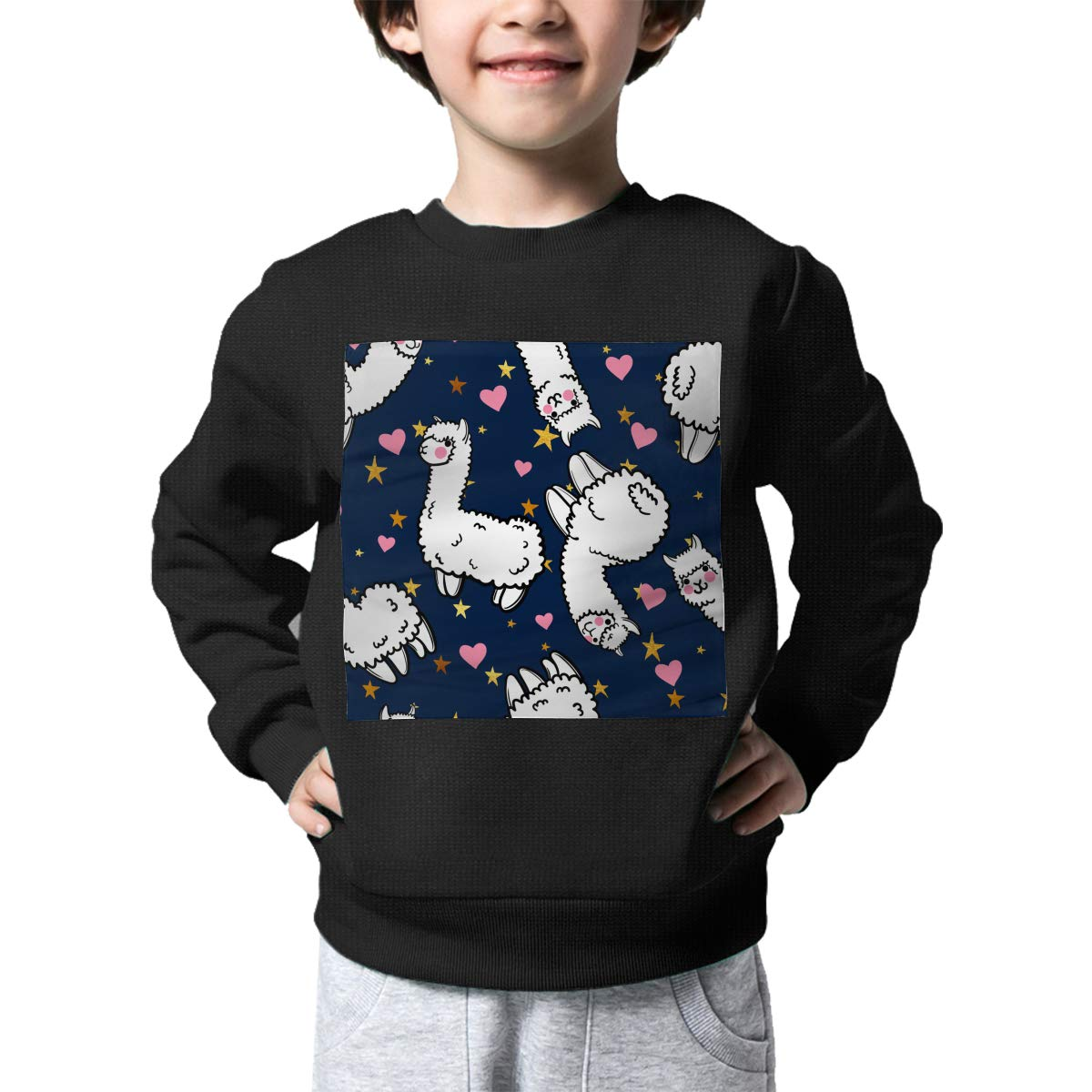 Cute Llama Printed Toddler Childrens Crew Neck Sweater Long Sleeve Cute Knit Jumper Top