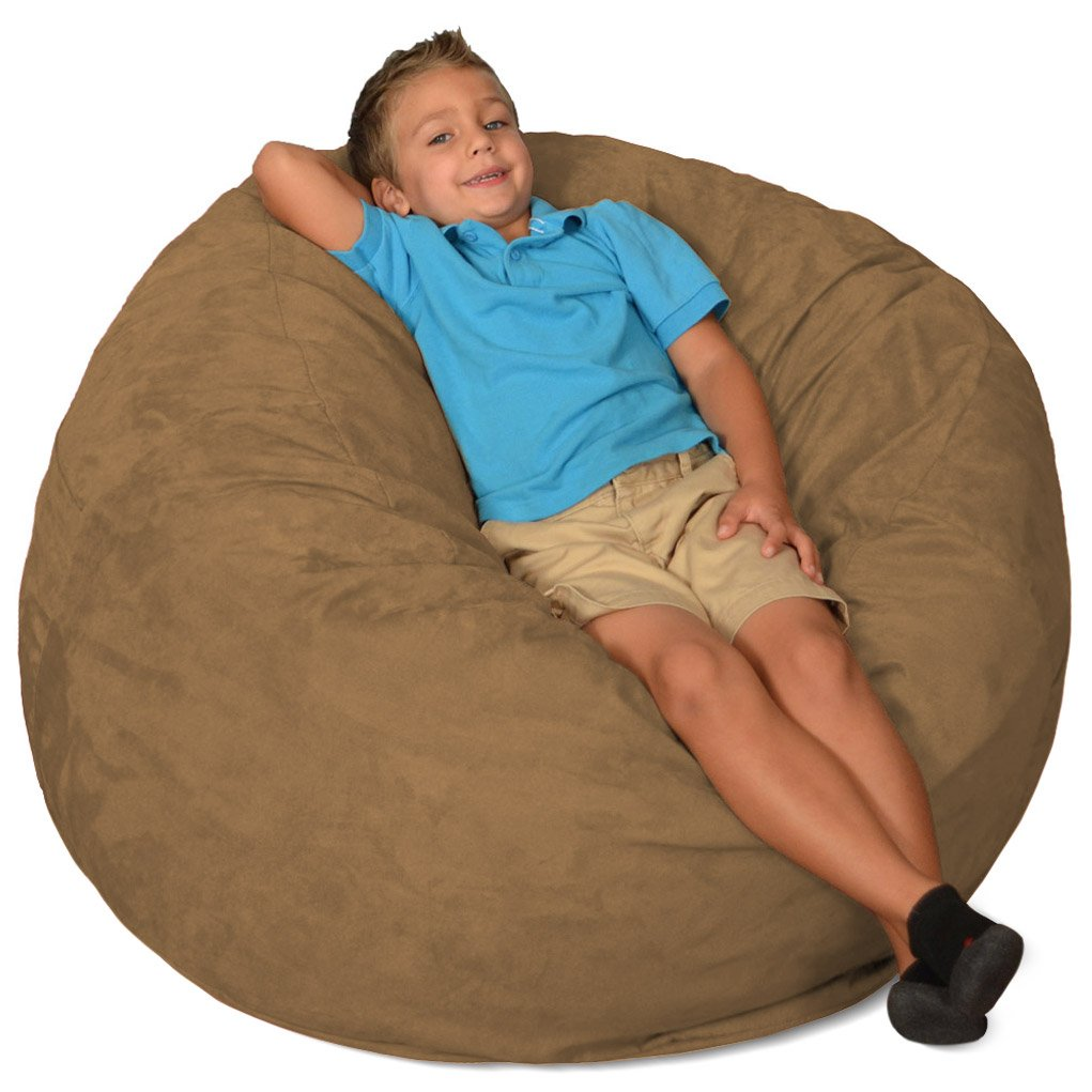 Comfy Sacks 3 ft Memory Foam Bean Bag Chair, Cocoa Micro Suede