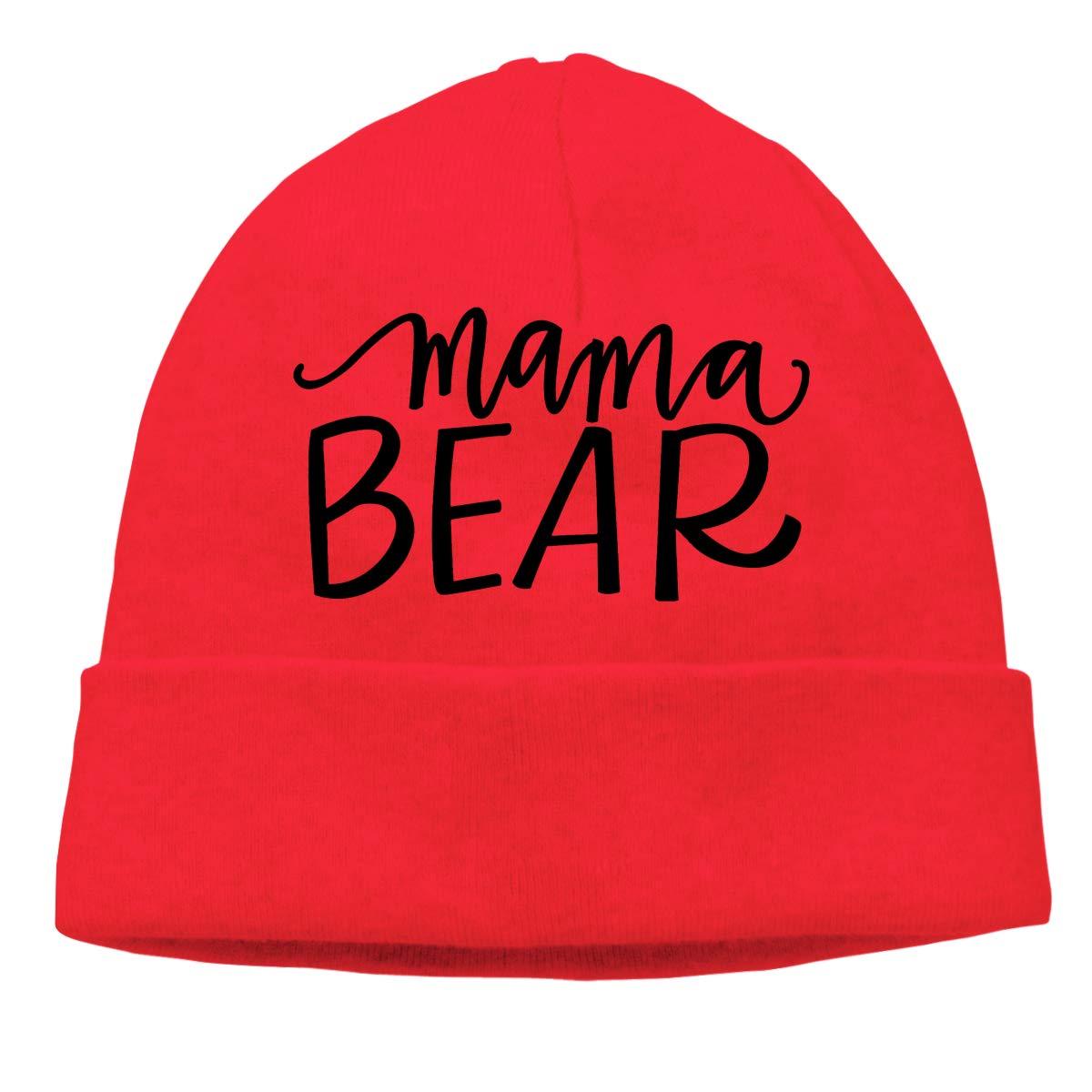 Mama Bear 1 Warm Stretchy Solid Daily Skull Cap,Knit Wool Beanie Hat Black