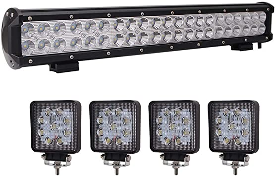 Amazon Com Lumitek 20inch 126w Led Light Bar Spot Flood Combo Light With 4pcs 27w Square Led Light Pods For Pickup Jeep Trucks Suv Utv Tanks Van Camper Atv 4wd Automotive