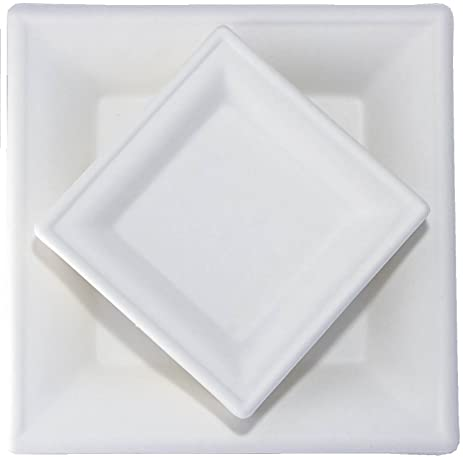 MadJoy Parties Sugarcane Plates- 100 Count Compostable White Square Disposable Paper Plates - Includes 50  sc 1 st  Amazon.com & Amazon.com: MadJoy Parties Sugarcane Plates- 100 Count Compostable ...