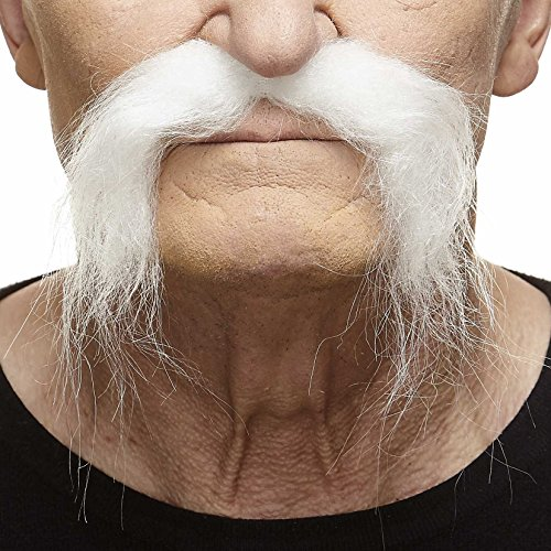 Mustaches Self Adhesive Fake Mustache, Novelty, Realistic Fu Manchu False Facial Hair, Costume Accessory for Adults, White Color