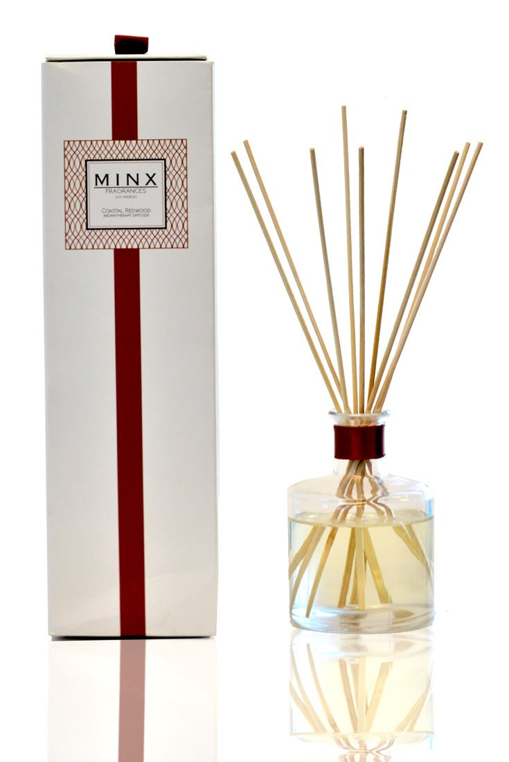 MINX Fragrances Prime Deal! Coastal Redwood Scented Aromatherapy Reed Diffuser GIFT Set Woodsy Winter Blend of Eucalyptus, Sequoia Wood, Cardamom, Teak Wood & Amber | Natural Air Freshener