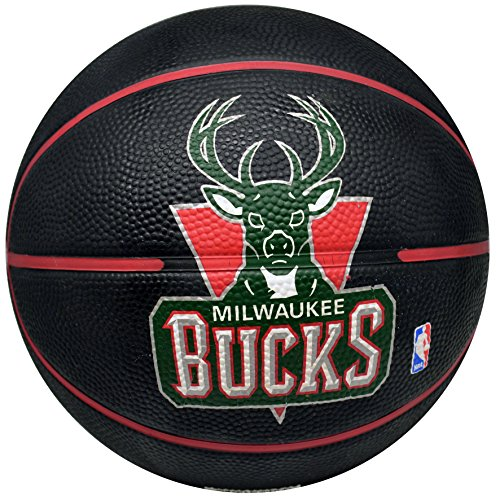 fan products of Spalding NBA Milwaukee Bucks Black Team Logo Mini Basketball