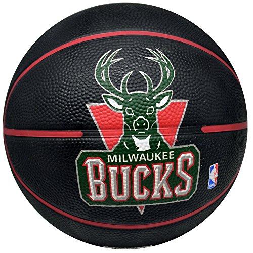 - Spalding NBA Milwaukee Bucks Black Team Logo Mini Basketball