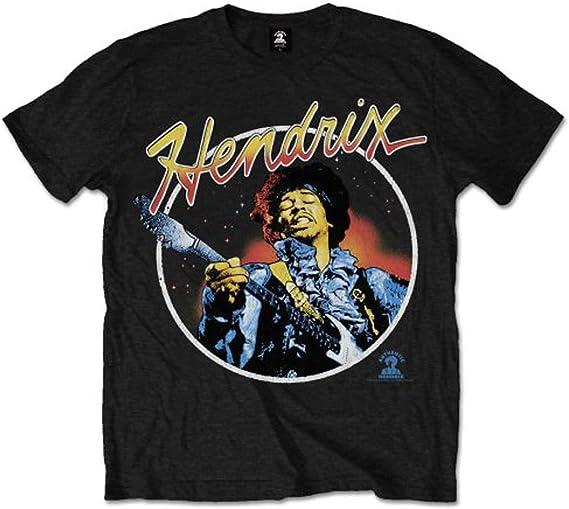 Jimi Hendrix Script Circle Camiseta Manga Corta para Hombre