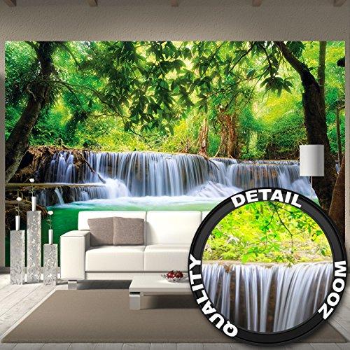 Fototapete Wald | Moderne Wohndeko | Natur Dschungel Reise Thailand Wasserfall Landschaft Urlaub Paradies Asien | XXL Wanddeko Wandbild Wandtapete Bild Tapete Wand |by GreatArt (336 x 238 cm)