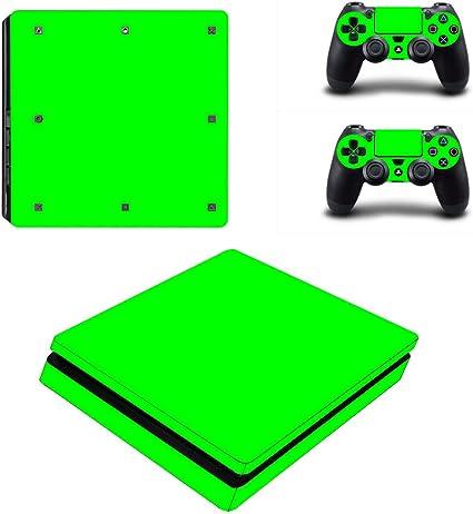 Dotbuy PS4 - Pegatina protectora para Sony Playstation 4 Slim Consola y 2 mandos DualShock verde All Green: Amazon.es: Informática