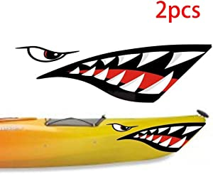 RUNMIND Multi-Color 2 Pieces Shark Teeth Mouth Vinyl Decal Stickers for Kayak Canoe Dinghy Boat Universal