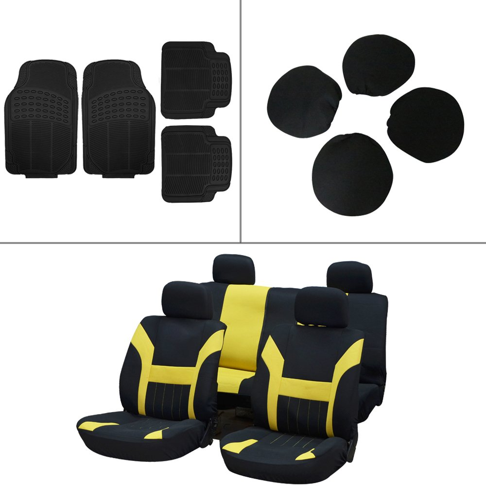 Scitoo 12-PC Front Rear Car Floor Mats Black/Yellow Car Seat Cover for Heavy Duty Vans Trucks