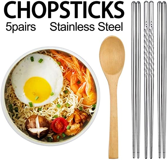 5 Pairs Stainless Steel Square Chopsticks Healthy Light Weight Chinese Chopsticks Metal Non Slip Design Kitchen Color Round Amazon Co Uk Kitchen Home