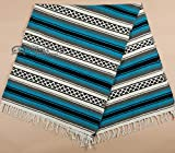 Mission Del Rey Old Mexican Style Woven Blanket with Traditional Designs & Colors for beds, Yoga, Pic Nic, Beach, Travel and Rustic Home Decor (Turquoise)