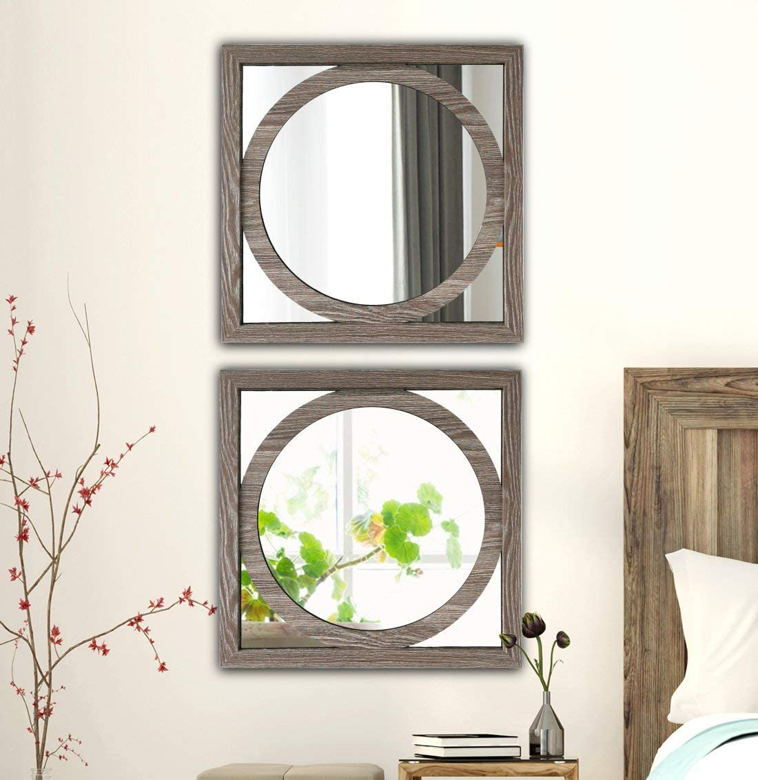 Square Barn Wood Rustic Style Framed Wall Decorative Mirror 20x20 inches O Round Modern DIY Fashion MDF Wood Material Wall-Mounted Mirrors