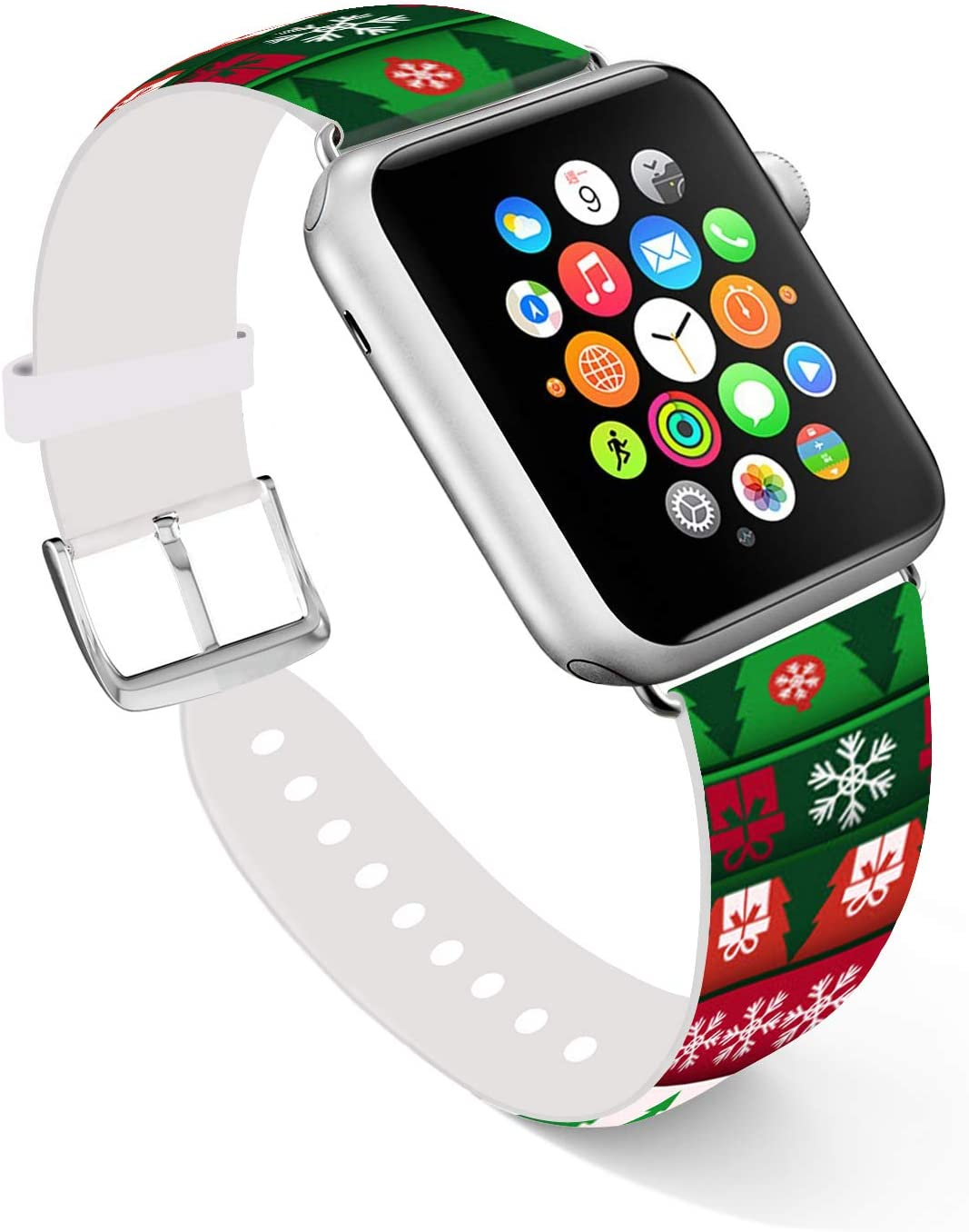 Ecute Compatible with Apple Watch Band 44mm 42mm, Soft Leather Band Strap Compatible with iWatch Series 6/5/4/3/2/1 44mm 42mm - Merry Christmas
