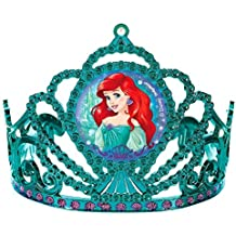 "Amscan Girls Enchanting Disney Ariel Dream Big Birthday Electroplated Tiara (Pack of 1), Multicolor, 3 1/""2 x 4 1/2"""