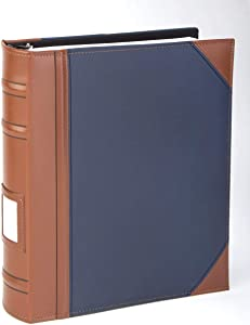"""Executive Binder, English Leather 2 Tone with Stitching and Ribbed Spine, Heavy Duty 3 D-Ring with Memo Tag, Blue (1"""" inch, 1PK)"""