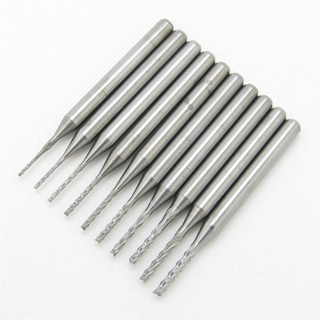 3.175mm Carbide End Mill Engraving Bits CNC PCB Machinery 0.6 1.5mm Cutting Edge Pack Of 10