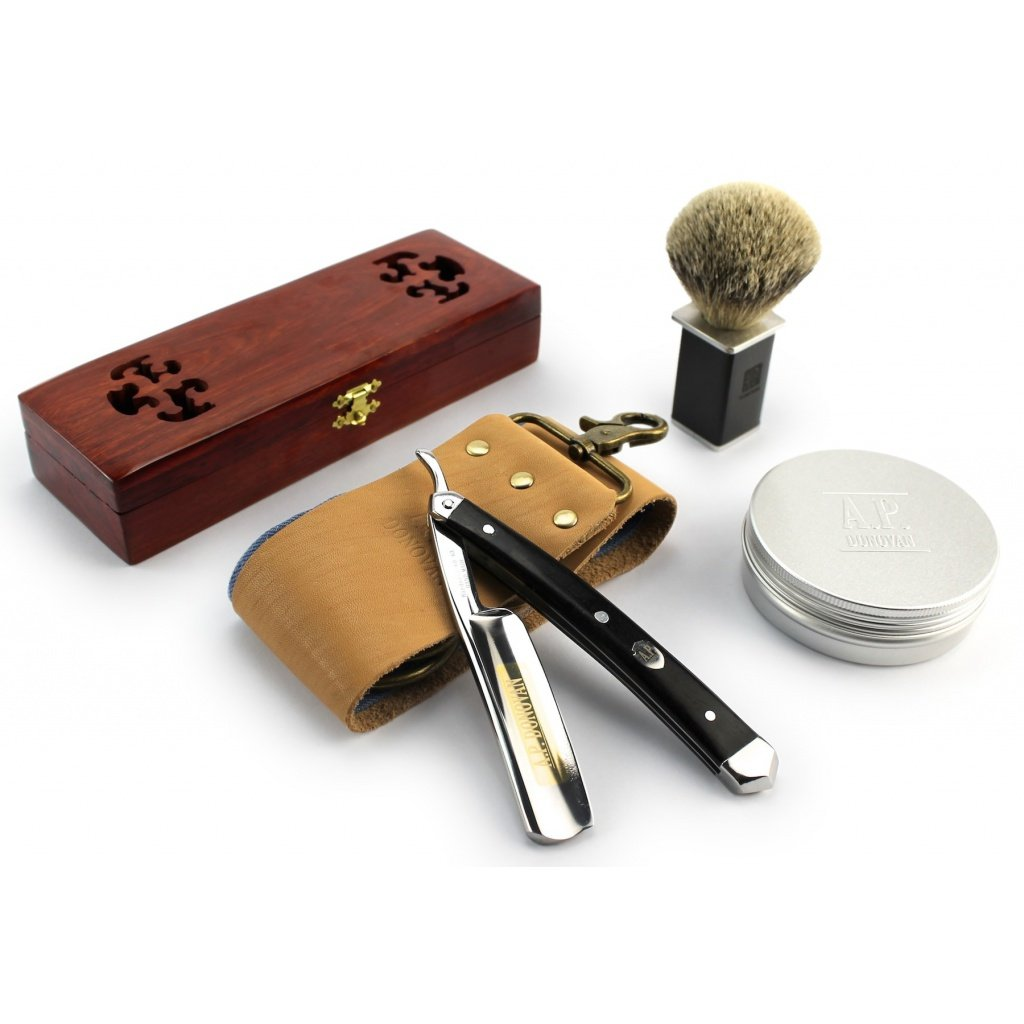 A.P. Donovan - Excellent 7/8'' straight razor set with gold etching - Handle of black sandalwood - brushes, soap, paste and strop here