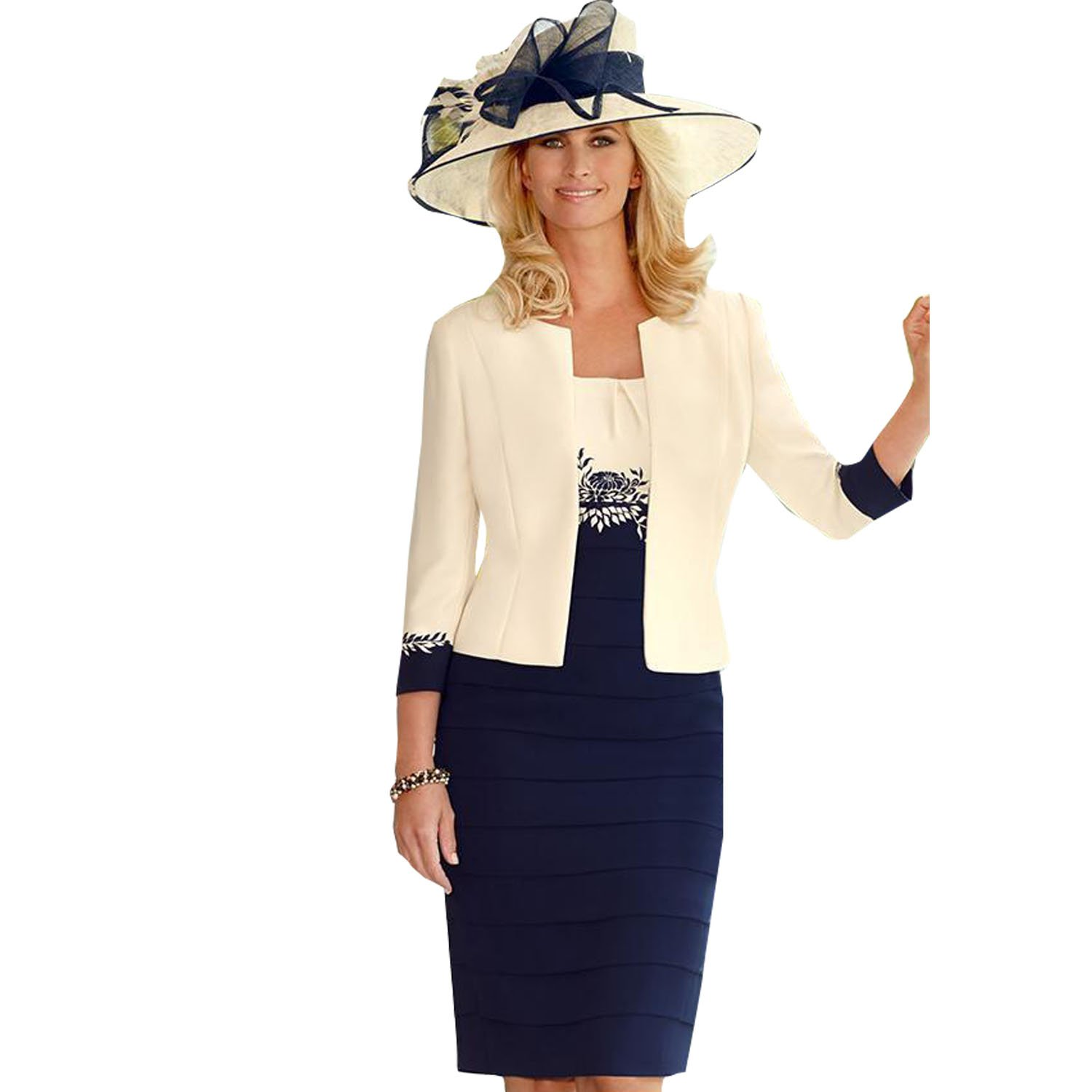 dressvip Round Neck Mother of Bride Dress with Ivory Long Sleeves Jacket