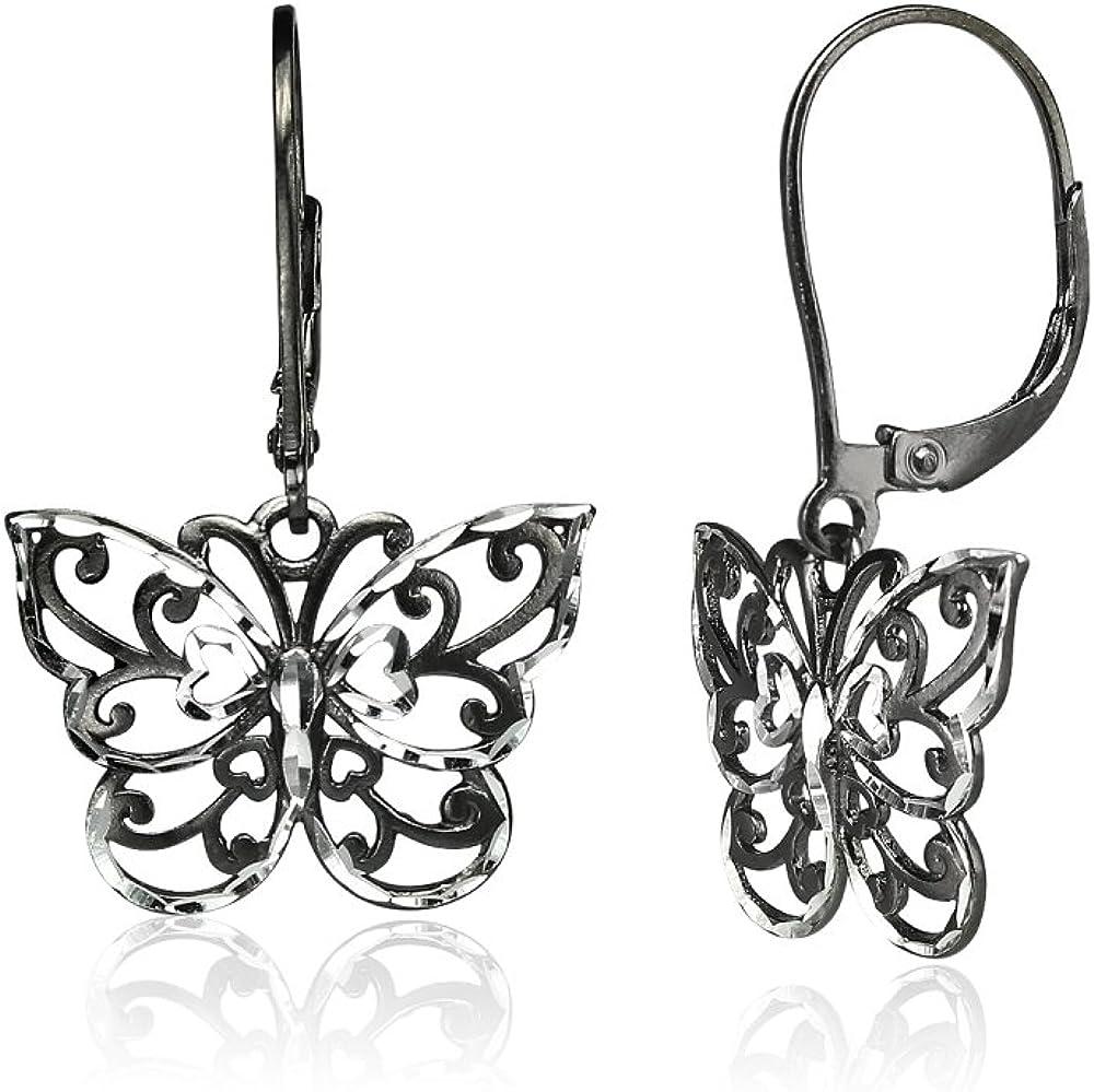 Sterling Silver Diamond-cut Filigree Thin Dainty Butterfly Dangle Drop Leverback Earrings