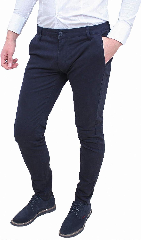 Evoga Pantaloni Uomo Class Slim Fit Casual in Cotone