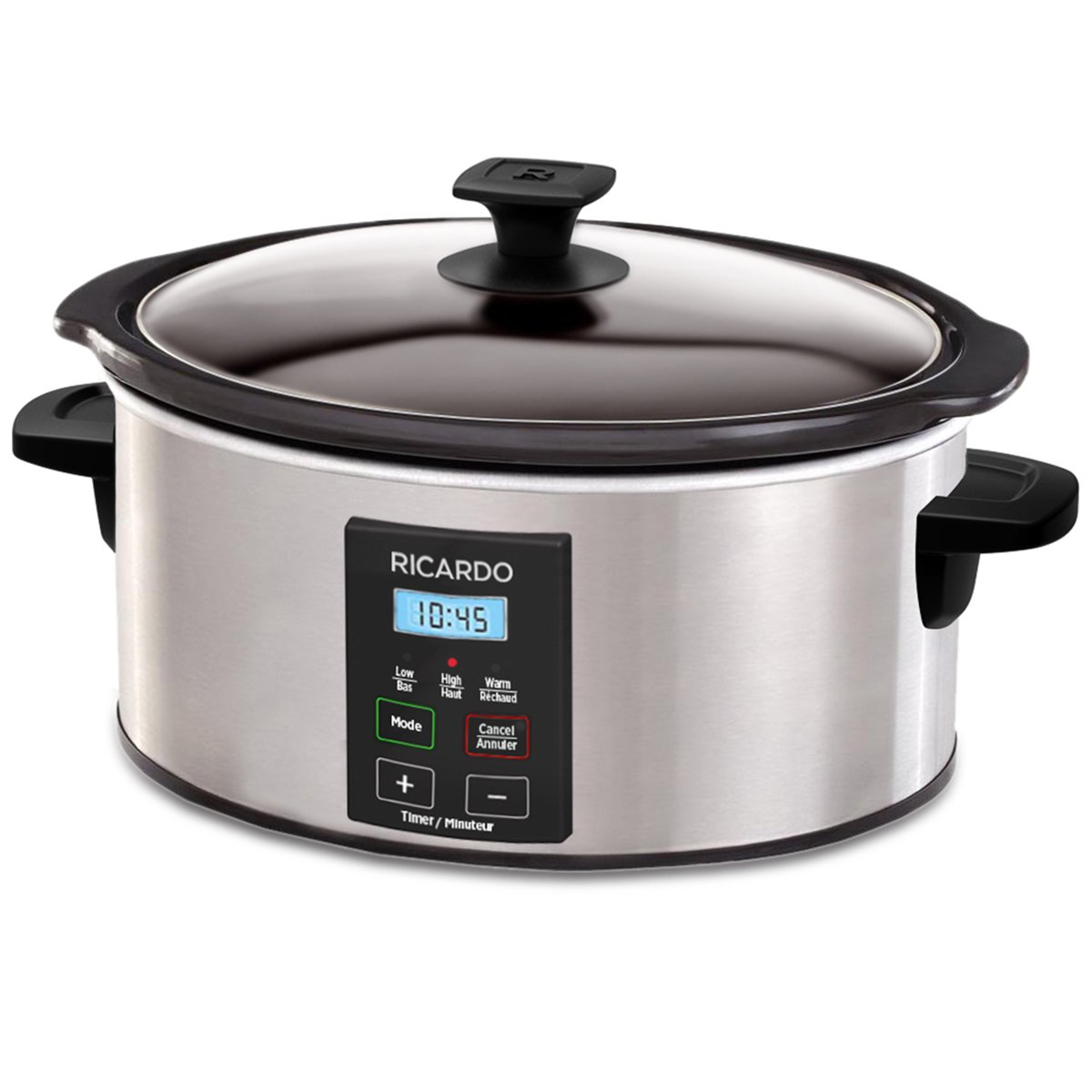 Ricardo Slow Cooker, 6 Quart Stainless Steel Exterior Finish Switch Automatically To Keep Warm Setting