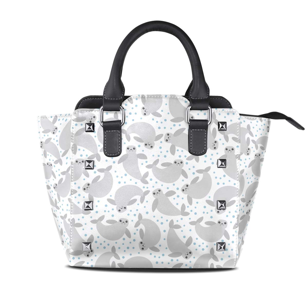 Design4 Handbag Painted Watermelon Genuine Leather Tote Rivet Bag Shoulder Strap Top Handle Women