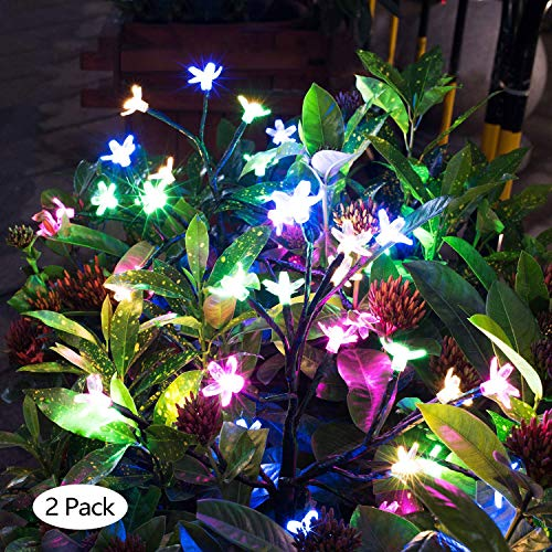 BLPOWER Solar Garden Lights Outdoor Decoration |Beautiful Solar Flower Lights For Pathway Patio Yard Deck Walkway|LED Fairy Tree Garden Lights Solar Powered|Christmas Party Decor Multi-Color 2 Package