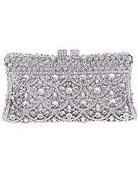 Fawziya Suitcase Style Diamond Clutch Purse Rhinestone Crystal Clutch Bag