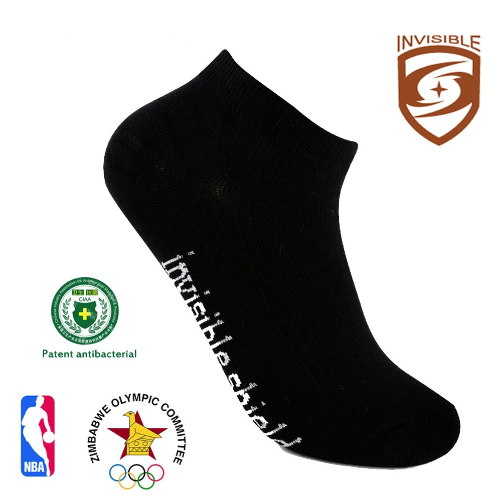 Athletic Running Socks Antibacterial Anti-Odor Breathable Cotton Low Cut Socks (Black, 1)