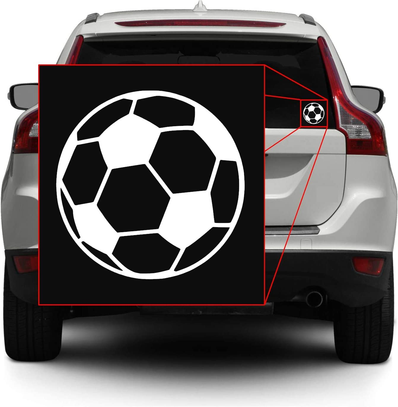 Vinyl Transfer Sticker Decal for Laptop//Car//Truck//Window//Bumper Soccer Ball Pick Any Color 5in x 5in, Black