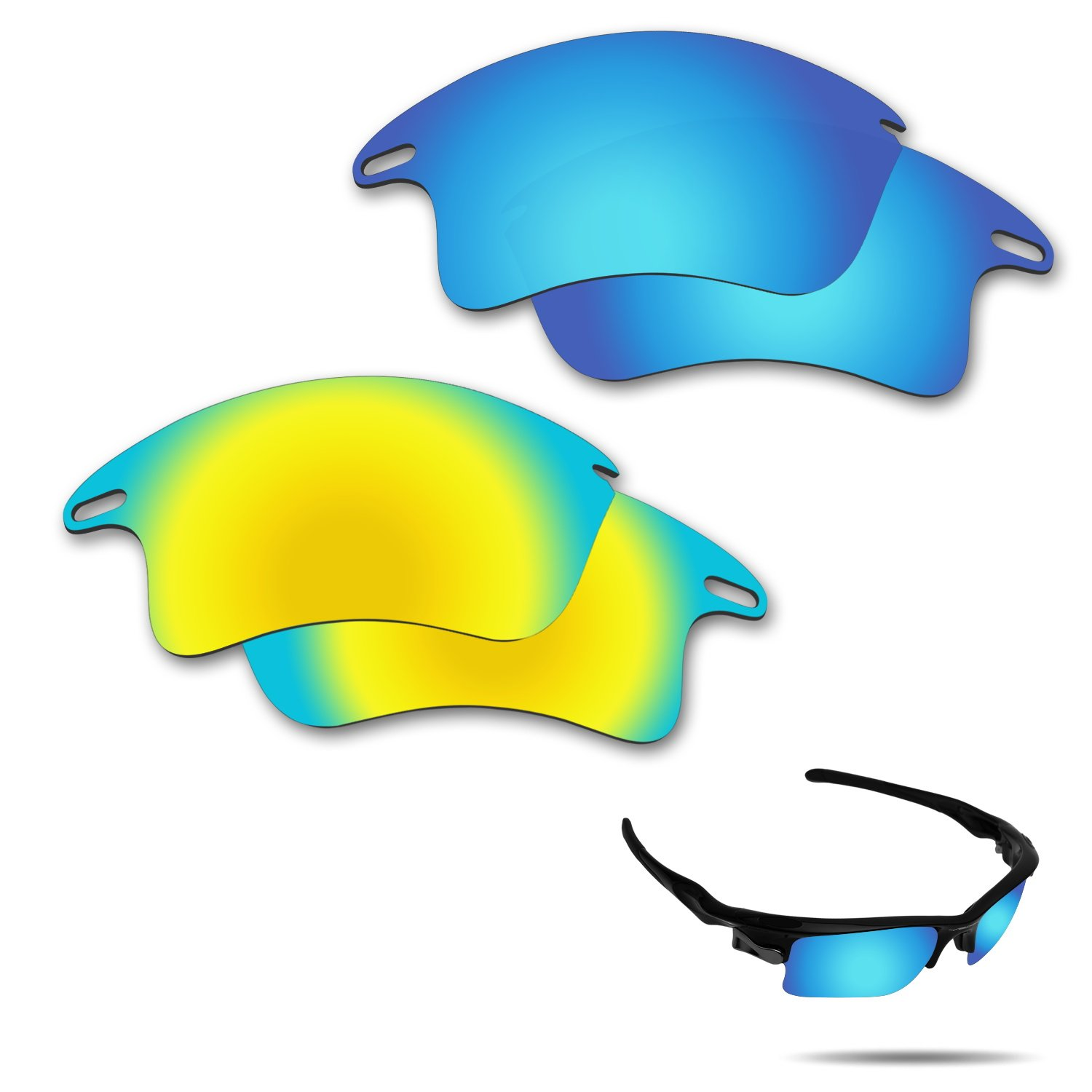 Fiskr Anti-Saltwater Polarized Replacement Lenses for Oakley Fast Jacket XL Sunglasses 2 Pairs Packed (Ice Blue & 24K Gold)
