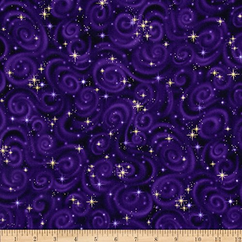 azers Star Texture Violet Metallic Fabric by The Yard, Violet ()