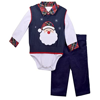 4f7a74127f12 Bonnie Jean Boys Santa Sweater Pants Set 3 pc set