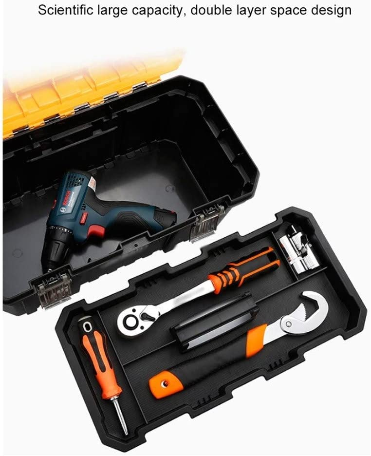 CML Toolbox Multi-function Portable Hardware Electrician Box Home Repair Tool Plastic Strong and Sturdy (Color : Strengthen the plastic buckle) Increase the Metal Buckle