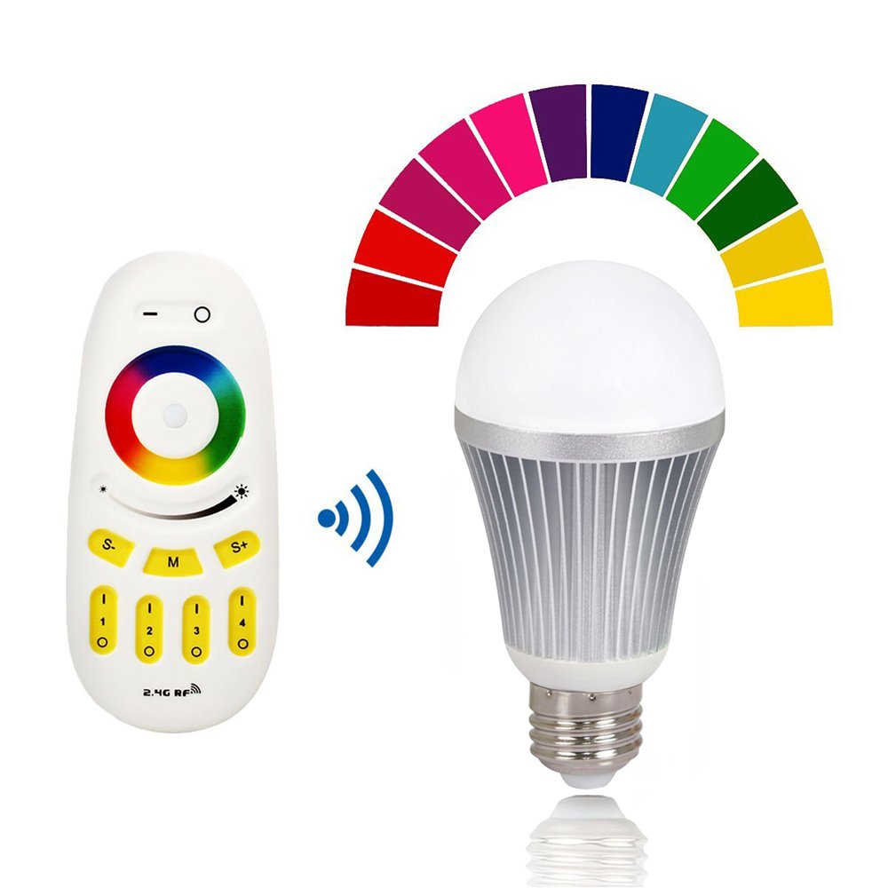 Texsens RGBW 9W 800 Lumen LED Light Bulb, Dimmable With 2.4GHz Wireless Remote Control, Adjustable Colors and Adjustable Brightness, RGB, Color Changing