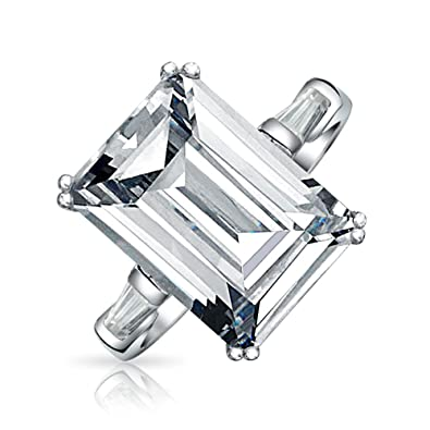 5758cede65f8f Art Deco Style 10Ct Solitaire Cubic Zirconia AAA CZ Baguettes 925 Sterling  Silver Emerald Cut Statement Engagement Ring